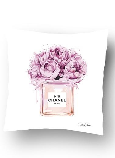 Lyn Home & Decor Chanel Çiçekli Parfüm Şişesi Yastık Kılıfı Renkli